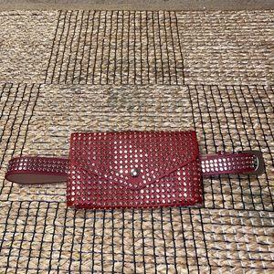 Red silver stud fanny pack waist belt brand new